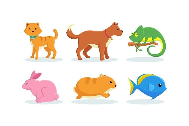 Различные коллекции иллюстраций домашних животных Бесплатные векторы
