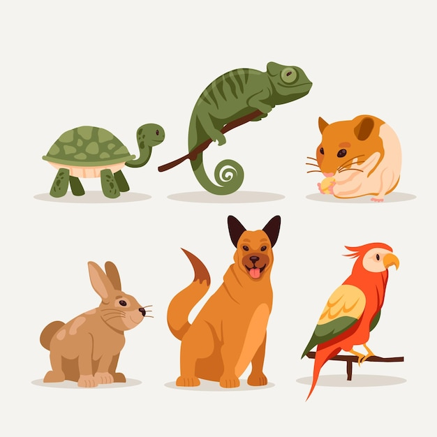 Different pets variety Free Vector