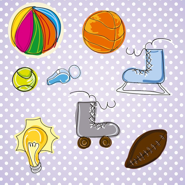 Different pictures of sports on vintage background Premium Vector
