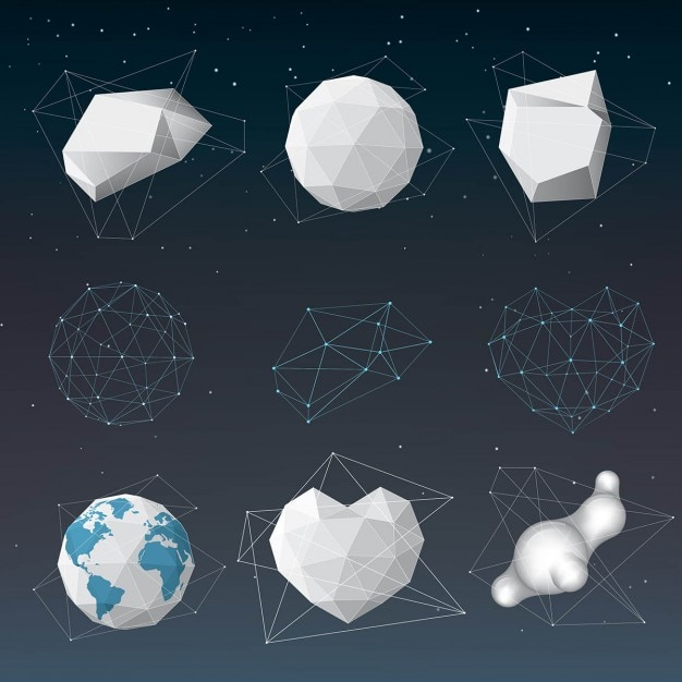Different polygonal objects 3d vector free download for 3d object editor