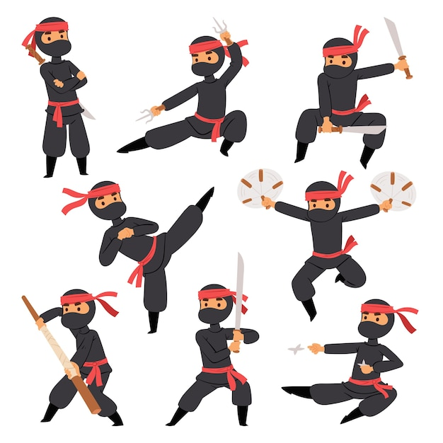 Different poses of ninja fighter in black cloth character warrior sword martial weapon japanese man and karate cartoon person action mask Premium Vector