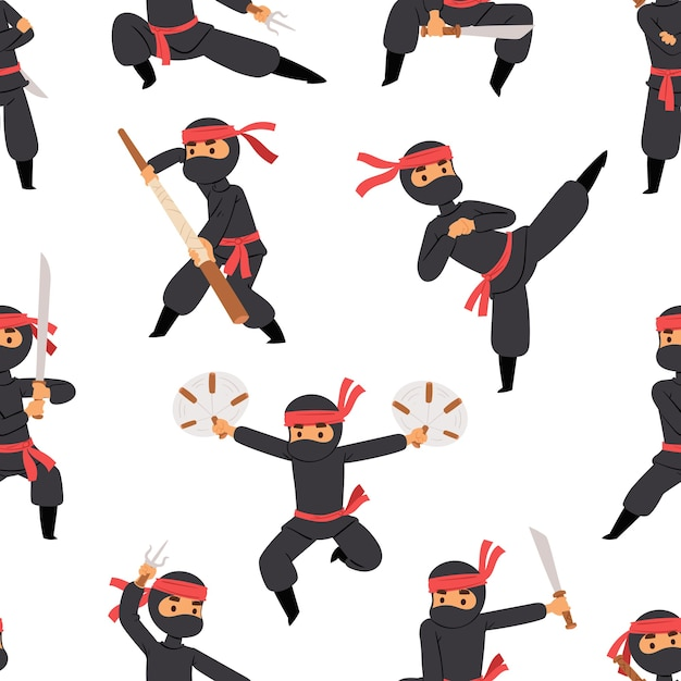 Different poses of ninja fighter in black cloth character warrior sword martial weapon japanese man and karate cartoon person seamless pattern . Premium Vector