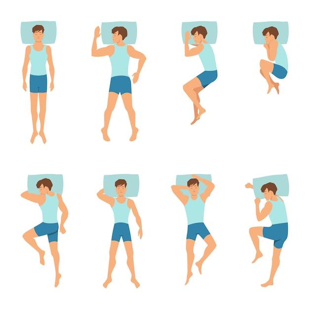 Different positions of sleeping man. Premium Vector
