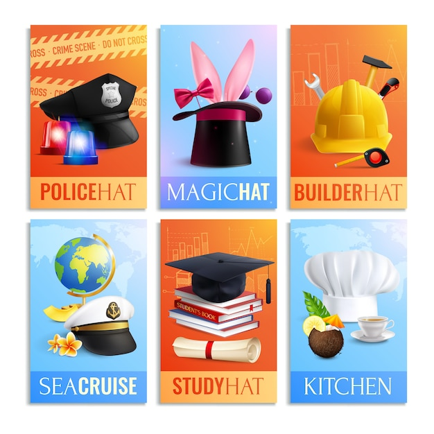 Different professions hats cards set Free Vector