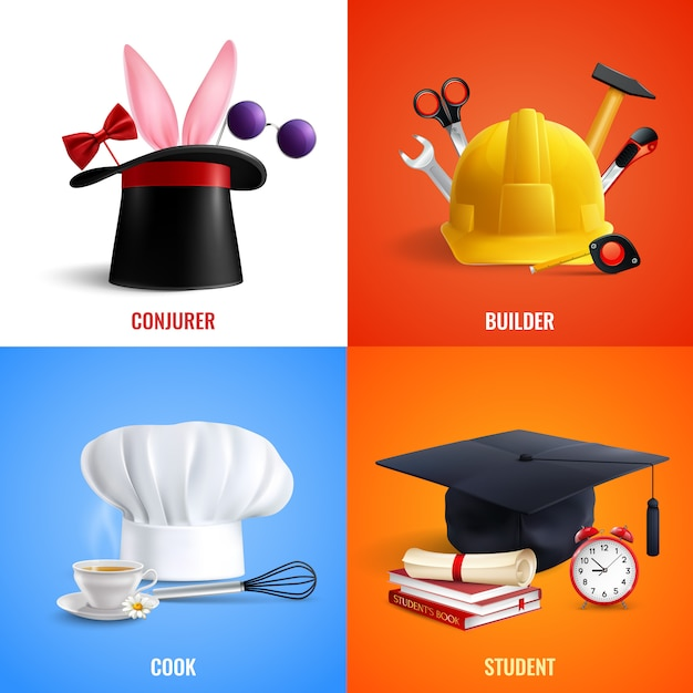 Different professions hats concept illustration Free Vector