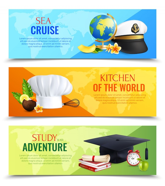 Different professions hats horizontal banners Free Vector