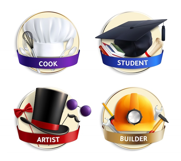 Different professions hats realistic emblems Free Vector