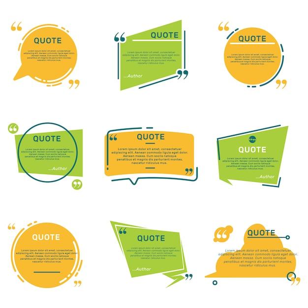 Set piatto di cornici di commento di citazione diversa Vettore gratuito