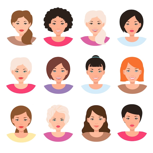 Different race women faces. girl head avatar Premium Vector