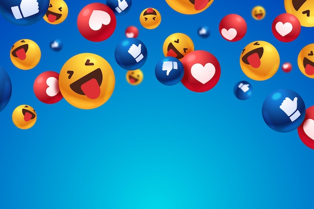 Different reactions with empty space background Free Vector