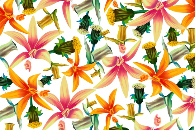 Different realistic colorful flowers background Free Vector