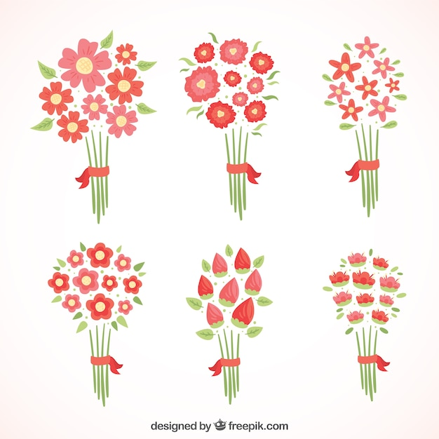 Different red flowers in minimalist\ style
