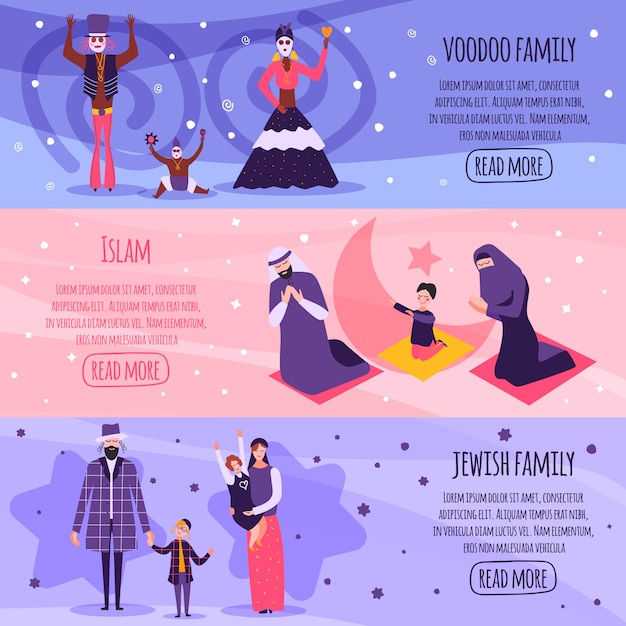 Different religious people family flat banner set Free Vector