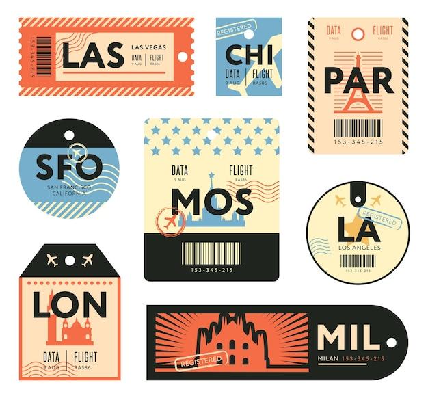 Набор различных ретро билеты для путешественников плоских марок. красочные багажные бирки и багажные наклейки на самолет векторные иллюстрации. шаблон поездки и дизайна Бесплатные векторы