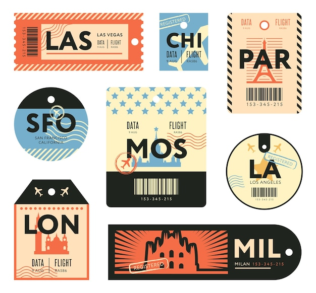 Different retro tickets for travelers flat stamps set. colorful baggage tags and luggage airplane stickers vector illustration collection. trip and design template Free Vector
