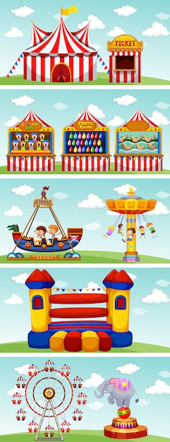 Different rides at the circus Free Vector