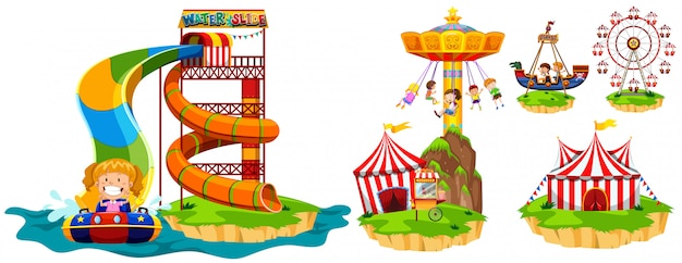 Different rides in theme park Free Vector