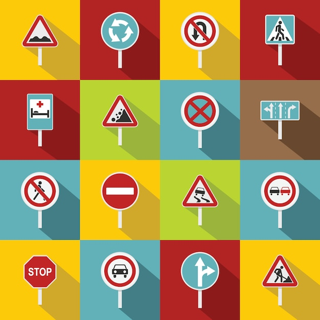 Different road signs icons set, flat style Premium Vector
