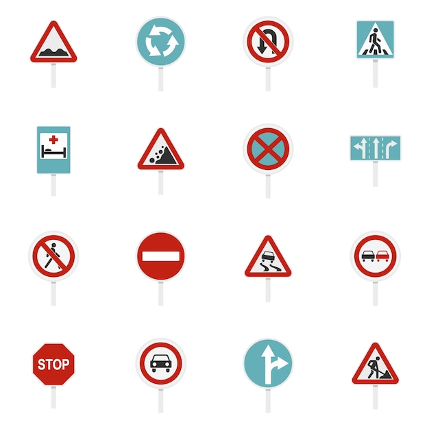 Different road signs set flat icons Premium Vector