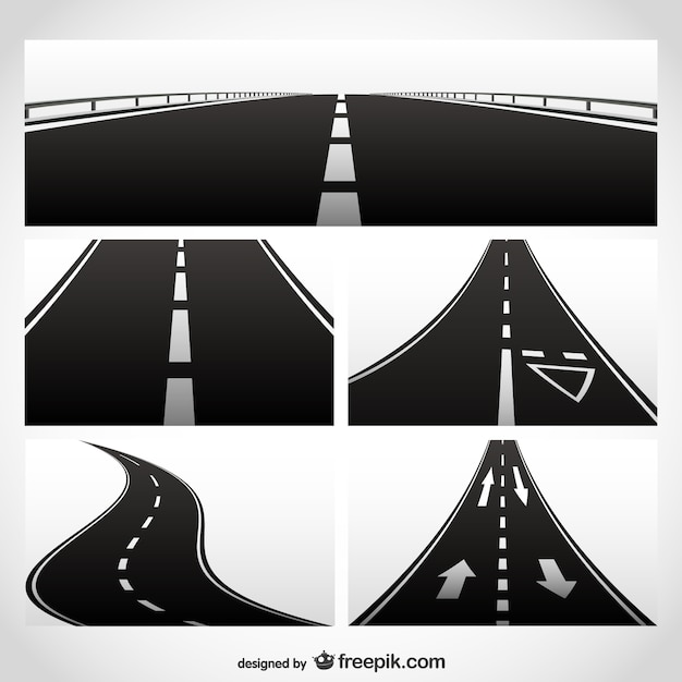 Different roads collection Free Vector