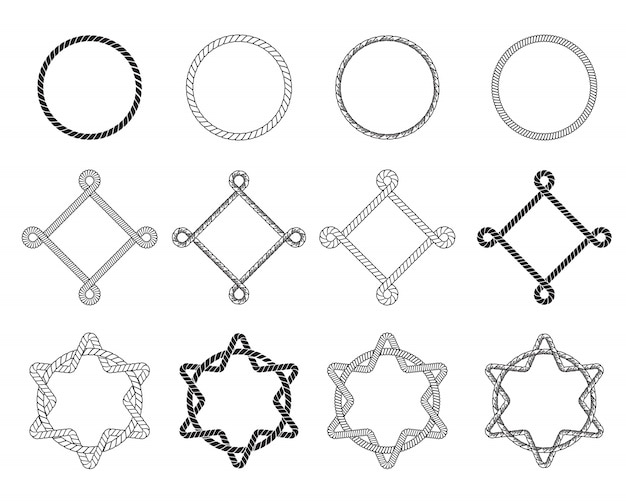 Set piatto di diversi telai di corda Vettore gratuito
