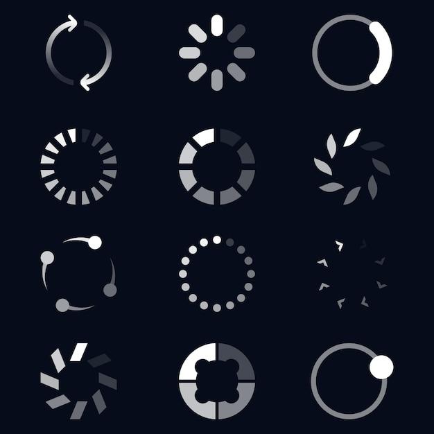 Набор иконок различных круглых погрузчиков Бесплатные векторы