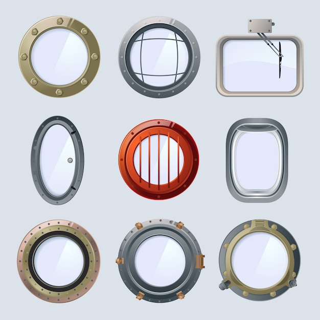 Different round ship and plane portholes. vector illustration isolate on white Premium Vector
