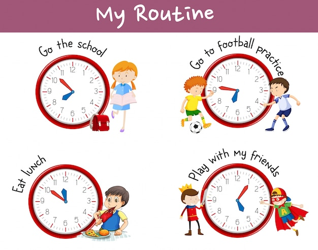 Different Routines On Poster With Kids And Activities Free Vector