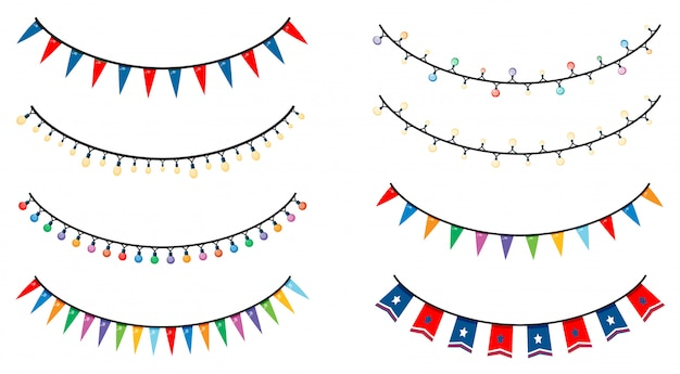 Different s of lights and flags Free Vector