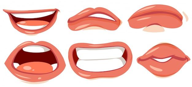 人間の唇のさまざまな 無料ベクター