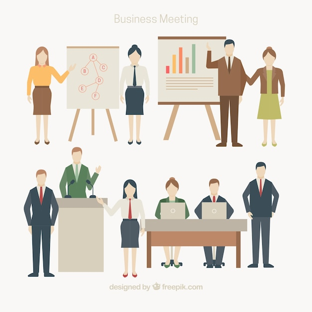 Different scenes of business meeting