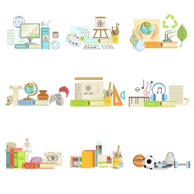 さまざまな学校のクラスと科学関連オブジェクトの構成 Premiumベクター