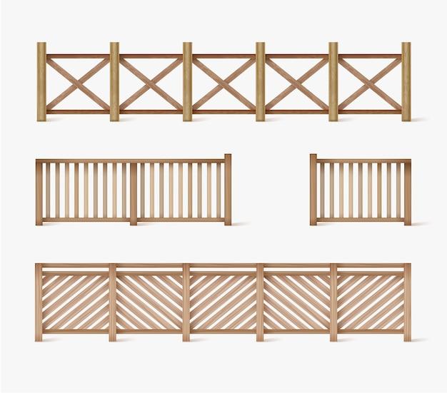 さまざまなシームレスな木製とレンガのフェンスのデザイン Premiumベクター