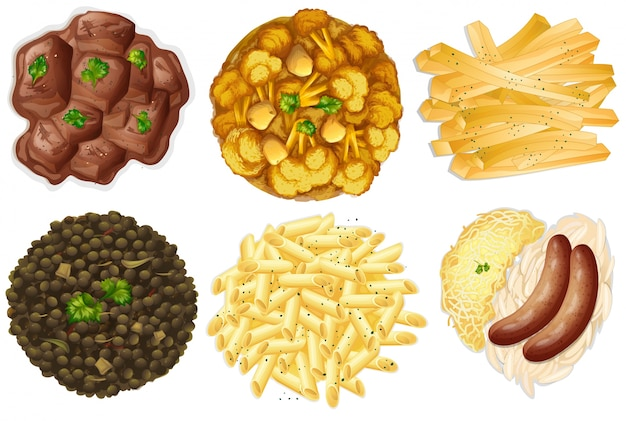 Different sets of foods