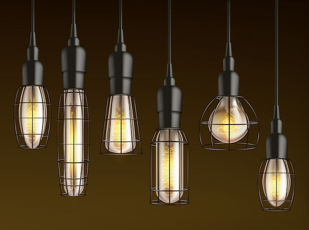 Different shape and size hanging, vintage incandescent light bulbs with heated wire filament and lattice wire cage realistic vector set. outdoor lamp, garage and carport lighting glowing in darkness Free Vector