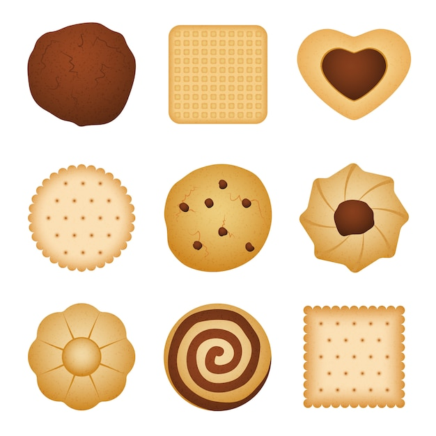 Different shapes of eating biscuit home made cookies Premium Vector