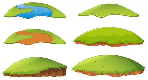 Different shapes of island Free Vector