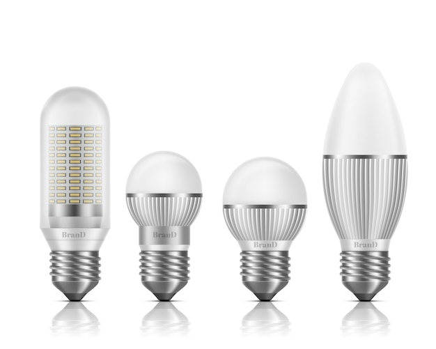 Different shapes and sizes led bulbs with heat sinks or fins, e27 base, screw-type socket 3d realistic vector set isolated Free Vector