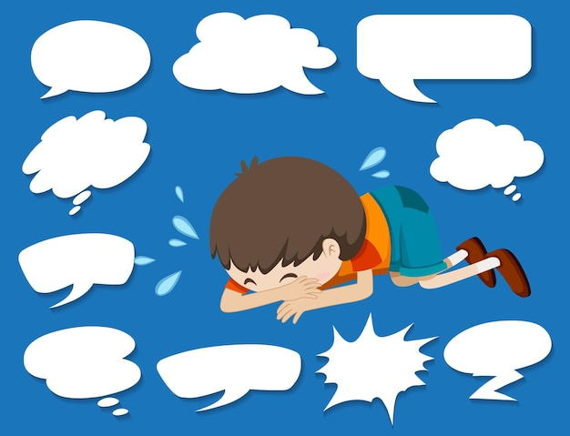 Different shapes of speech bubbles and crying boy Free Vector