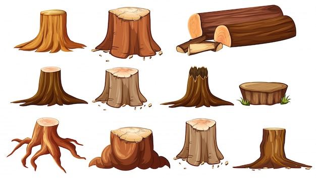 Different shapes of stump trees Premium Vector