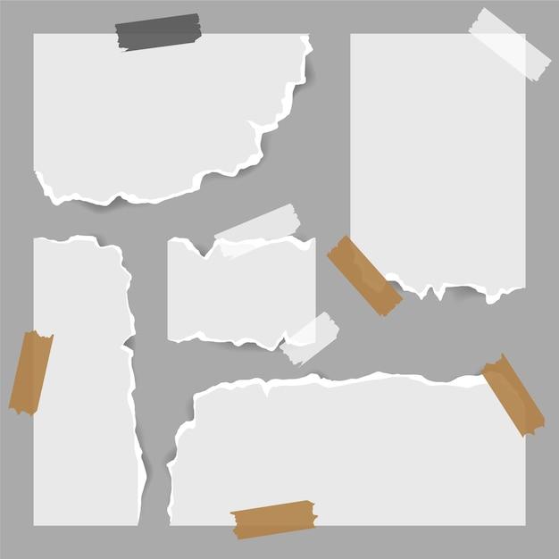 Documenti strappati di forme diverse con set di nastri Vettore gratuito