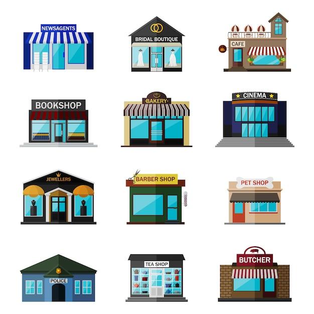 別のショップ、建物、ストアフラットアイコンセット白で隔離。新聞販売店、ブライダルブティック、カフェ、書店、パン屋、映画館、宝石商、理髪店、ペットショップ、警察、喫茶店、肉屋が含まれます Premiumベクター
