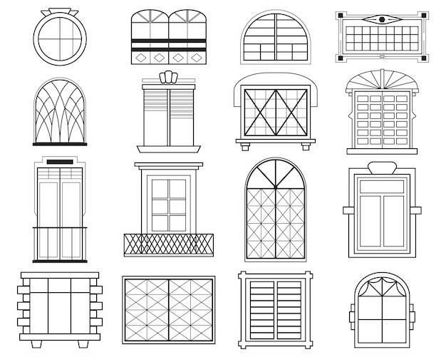 Diverse sagome di infissi per finestre set piatto Vettore gratuito
