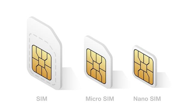 アイソメトリックスタイルのさまざまなsimカードタイプ Premiumベクター
