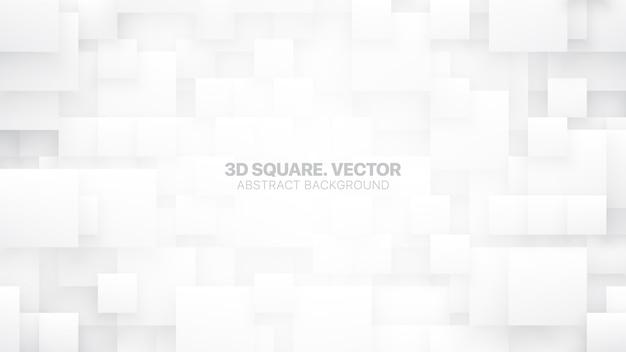 異なるサイズの正方形のブロック概念的なテクノロジックホワイト抽象的な背景 Premiumベクター