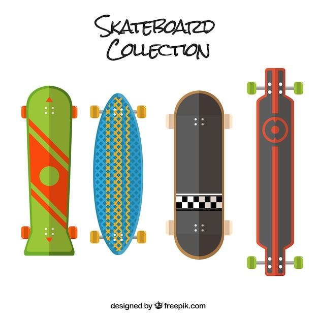 Different skateboards in flat design