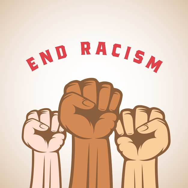 Different skin color activist fists and end racism slogan. abstract  anti racist, strike or other protest label, emblem or card template. isolated. Free Vector