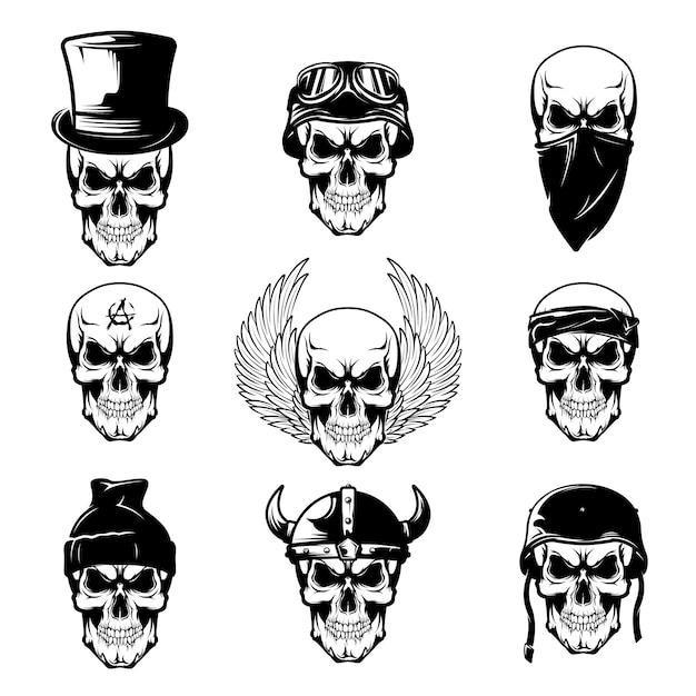 Different skull tattoo flat set Free Vector