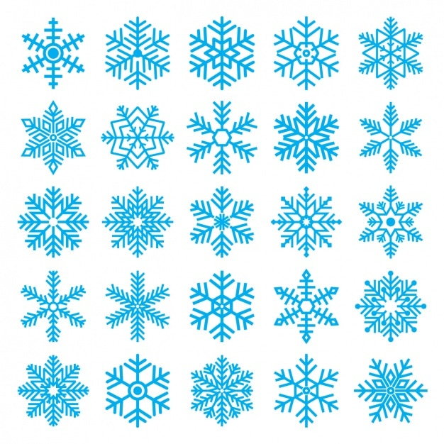 Различные снежинки Бесплатные векторы