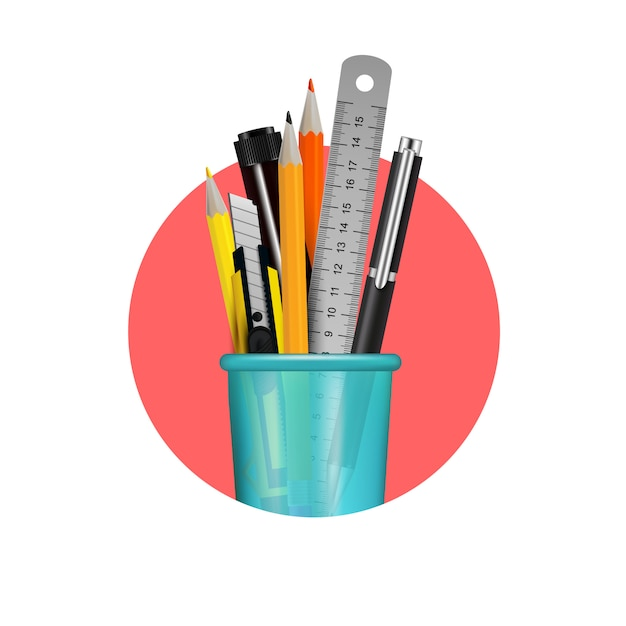 Different stationery items in blue plastic glass composition in red circle on white background realistic vector illustration Free Vector